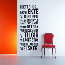 "Norwegian Vinyl Wall Sticker Decal, "" I DETTE HUS..."" Norwegian Features Decorative Wall Art , Norway Home Decoration Quotes"