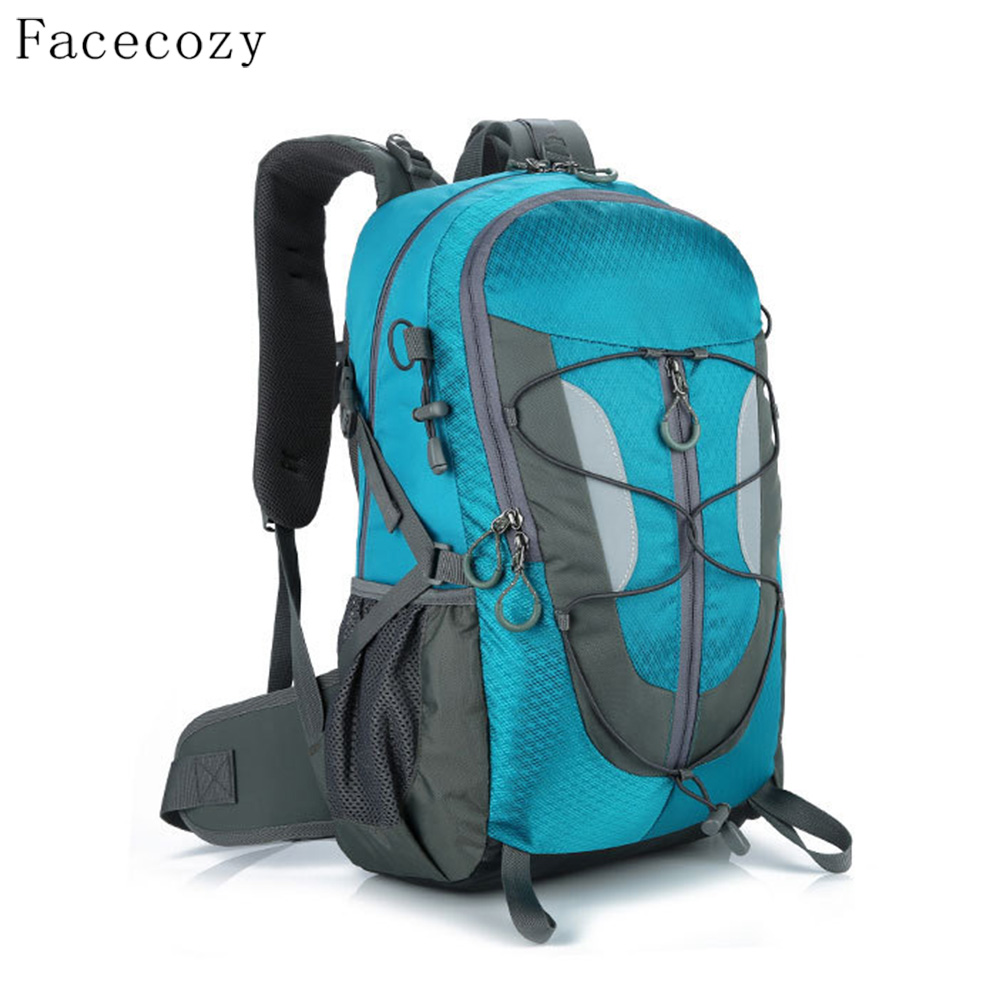 Facecozy Unisex 30L Outdoor Traveling Camping Backpack Night Reflective Stripes Softback Sports Backpacks Wear-resistant Bags<br>