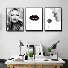 Fashion Wall Art Canvas Painting Black Lips MakeUp Girl Picture Wall Painting Modular Picture For Room FG0092(China)