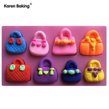 Famous Brand Fashion Handbag 3D Silicone Cake Molds Tools Cooking Tools C392(China)