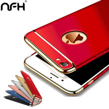 Housing 3-in-1 Luxury Plating Scrub Simple Protective case On The for iPhone 5 5S SE 6 6S Plus 7 Comfortable Back Cover Red(China)