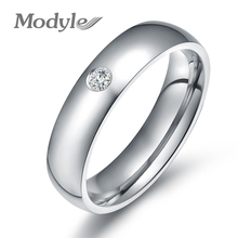 Modyle Fashion Wedding Rings for Women Stainless Steel Rings with CZ Stone High Quality 3 Colors Ring Jewelry(China)