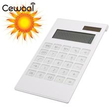 Cewaal New Slim Portable 12  Calculator Solar Power Energy Crystal Keyboard Battery Dual Power Electronic Calculator Rekenmachin