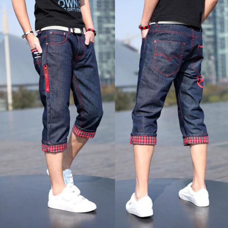 2017 New Red Plaid Flanging Cowboy Zipper Popular Seven Pants Free ShippingОдежда и ак�е��уары<br><br><br>Aliexpress
