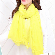 NEW Yellow Trendy Summer Care Solid Color Scarf Shawl For Women