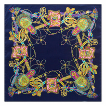 Women 100% Natural Silk Scarf Bohemian Flowers Female Silk Scarves Beach Cover-ups Flight Attendant Square Wraps 60*60cm