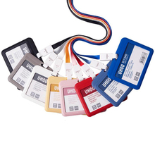 PP ID Card Holder Candy Colors Name Tag Exhibition Cards Business Badge Holder With Lanyard School Office Supplies