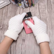 Winter Autumn Women Wool Knitted Gloves Screen Use Device Mittens Thicken Warm Solid Luvas Men Business Elastic Handschoenen(China)