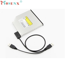 High Speed  External USB Cable Adapter Converter to SATA 6+7 13Pin For DVD Rom Optical Drive U0302