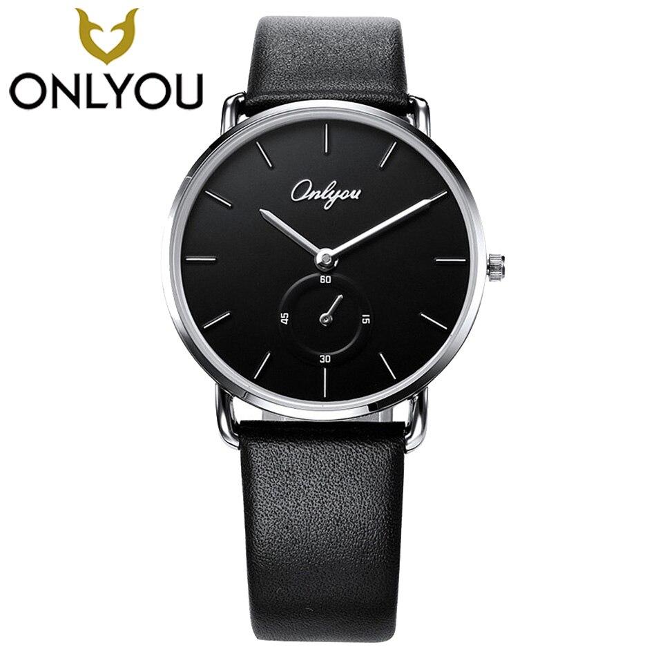 ONLYOU Black Men Watches 2017 Top Brand Luxury Quartz Waterproof Watch Genuine Leather women Fashion Casual Watches Lovers Mens <br>
