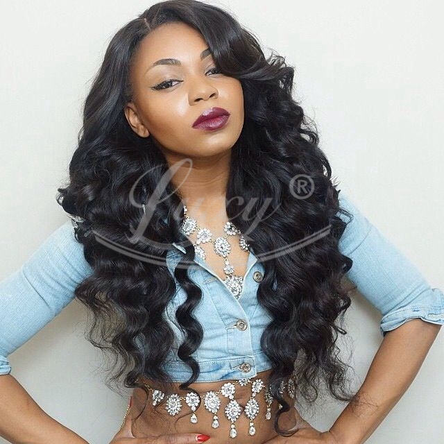 8~26inch in stock brazilian virgin hair full lace wig for black women black wig Loose wave lace front human hair wigs<br><br>Aliexpress
