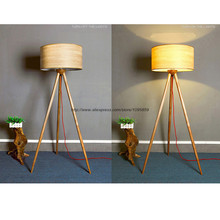 Modern Wooden Three Legged Floor Lamp Light Bedroom Bedside Standard Reading Lighting(China)