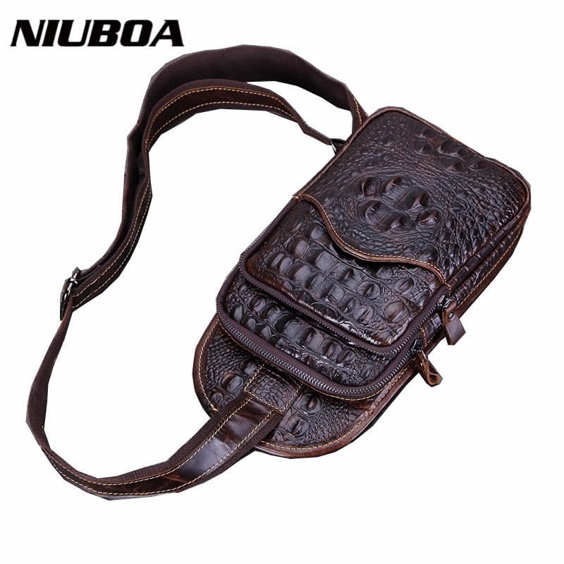 Fashion Genuine Leather Bag Chest Pack Crocodile Pattern Cowhide Men Messenger Bag Shoulder Bag Casual Chest Bag bolsa masculina<br><br>Aliexpress