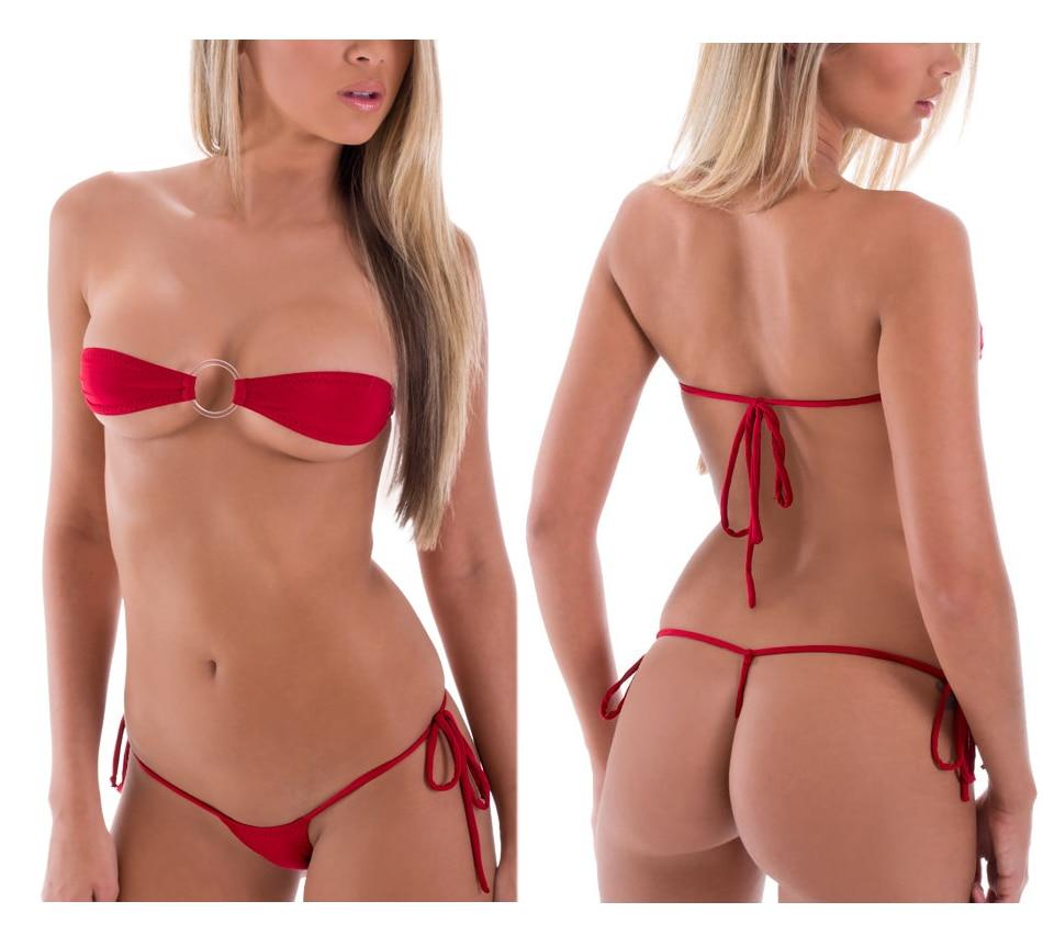 Solid Exotic Sunbath Mini Bikini Teardrop G-String Micro Bikinis Set 2Pcs Thong & Top Beach Swimwear Female Sex String Swimsuit 22