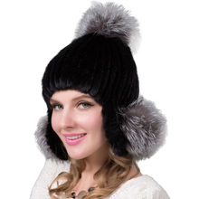 FURART autumn and winter ladies mink fur cap and fox fur ball ear cap knitting natural mink high quality bomber hat DHY-23(China)