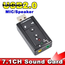 kebidumei Mini 7.1 CH Channel USB Sound Card Mic Speaker 3D External Sound Cards Adapter for Desktop Notebook