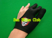 Free shipping 8pcs/lot high stretch 3 finger Skull-design billiard gloves/Pool Table Snooker billiard table Gloves(China)