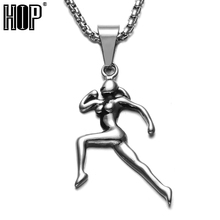 HIP Gold Color Titanium Stainless Steel Sports Gym Fitness Runners Woman Pendant Necklaces For Men Jewelry(China)