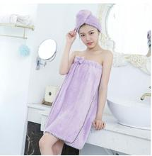 Bath towel can wear soft absorbent padded breast bath skirt Pure cotton beauty salonBathrobe suit(China)