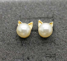 Timlee E068 Free shipping Cute Imitation Pearl Cat Head Studs Earrings  wholesale HY