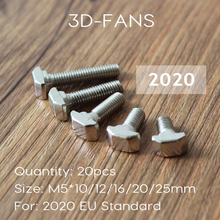 20Pcs M5*10/12/16/20/25mm Carbon steel T type Nuts Fastener Aluminum Connector For EU Standard 2020 Industrial Aluminum Profile(China)