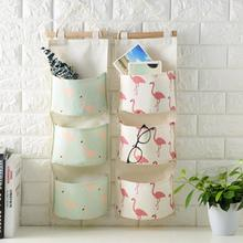 Flamingo Printing Storage Bag 3 Pocket Wall Mounted Wardrobe Hang Bag Wall Pouch Cosmetic Toys Organizer Stationery Container