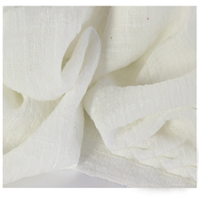 Soft Linen Cotton material white crincle wrinkle tissue scarves dress double layer linen cotton crepe fabric By meter