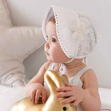 New Spring Summer Sweet Princess Hollow Baby Girls Hats Lace-up Beanies Cotton Bonnet Infant Kids Flower Beanie Lace Floral Caps