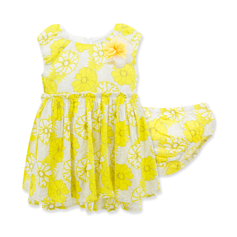 2016 new fashion lemon summer clothes cute baby girl outfits sets kids girl cotton sleeveless Floral dress bloomers suits<br><br>Aliexpress