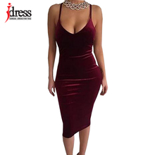 IDress S-XL Dark Green/ Wine Red/Royal Blue Women Summer Style Sexy Dress Sleeveless Velvet Cross Bodycon Party Night Club Dress(China)