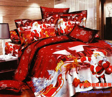 Christmas gift bedding  set Santa Claus queen size duvet cover bedspread bed in a bag sheet fashion quilt 100% cotton