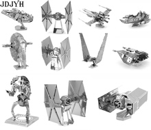 Star Wars 3D Metal Puzzles DIY Model Building Toy X-wing AT-AT R2D2 Fighter Millennium Falcon Model Toys Robot Children Gift