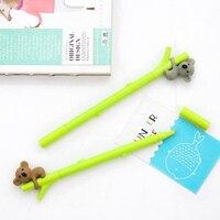 2 pcs/lot Super Cute Koala 0.5mm Black Roller Ball Pens School Student Writing Supplies Kawaii Cartoon Gel Pens