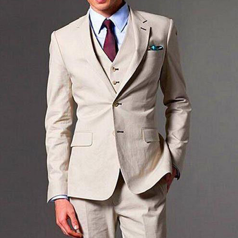 Champagne Wedding Groom Tuxedos 2018 Three Piece Notched Lapel Business Party Men Suits Custom Made Jacket Pants Vest