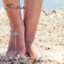 FANHUA Bohemian Jewelry Antique Silver Color Chain Flower Design Blue Stone Anklets Beach Barefoot Sandals Foot Jewelry Anklets(China)