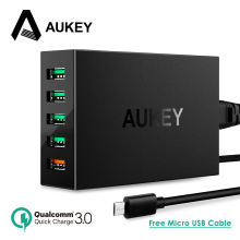 AUKEY Quick Charger 5 Ports USB Desktop Charger Smart Mobile Phone Charger for LG Xiaomi Galaxy S8 Support Qualcomm Quick Charge(China)