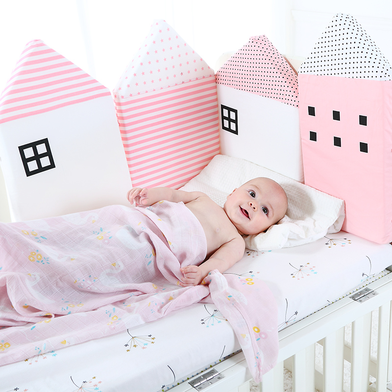 Baby Crib Bumper For Newborns Nordic Bed Cushion Baby Protector For Infant Cot Around Pillows Room Decor For Girl Boy 4Pcs Set