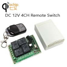 433Mhz Universal Wireless Remote Control Switch DC12V 4CH relay Receiver Module and 1PCS 4 channel RF Remote 433 Mhz Transmitter(China)