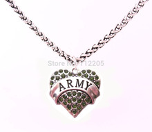 New 10pcs antique silver Lobster Claw Wheat Link Chain with Large Clasp with green crystal ARMY heart necklace(China)