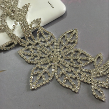 20X9cm Rhinestone Flower Applique  1pcs silver base  sew on  applique  use for wedding dress ornament Free shipping