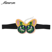 Manerson 2017 Hot Sales Summer Choker Necklace Statement Collar Simple Butterfly Pattern  Embroidery  Design Costume Jewelry