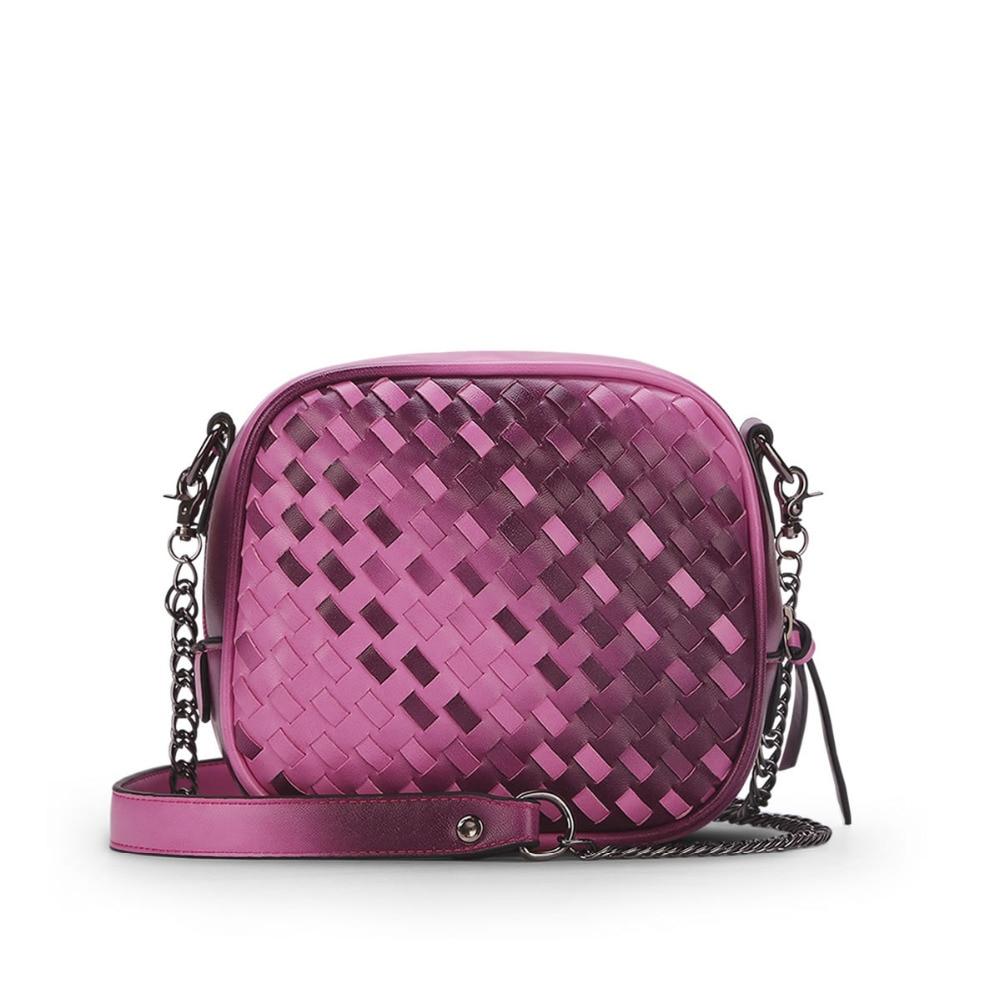 Famous Design Women Handbag High Quality Pu Leather Knitting Shoulder Messenger Bag Fashion Purple Chain Clutch Zipper Flap m696<br><br>Aliexpress