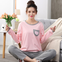 Big Yards M-XXL Women Pajamas Sets 100% Cotton Nightwear Spring Autumn Long Sleeve Pyjamas O-Neck Sleepwear Female Pijamas Mujer
