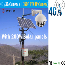 4G/3G solar camera 1080P Outdoor Bullet PTZ IP Camera 2.0MP 20X Zoom,150M IR CCTV IP Camera with 200W solar panels