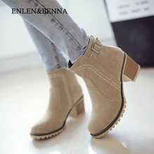 ENLEN&BENNA 2016 Autumn And Winter Fashion Women Boots Buckle Round Toe Flock Women Motorcycle Boots Women Shoes Thick Heel