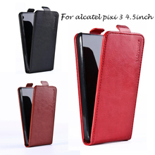 3G Leather Case For Alcatel OneTouch one touch Pixi 3 4.5inch 4027 4028 4027D 4027N 4028A 4028E Cover Back Housing Bag Holster
