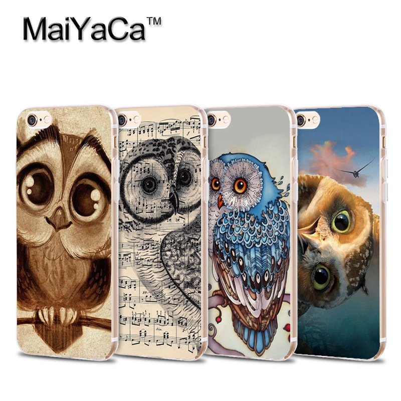 Owl Soft Phone Case For 5s 6 6s 7 plus Lovely Owl 6plus 6splus 7plus Transparent TPU Cell Phone Protective Cover case(China)
