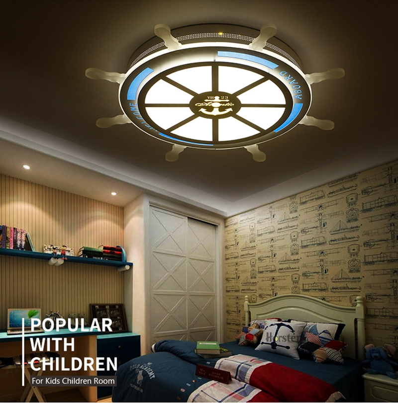 Horsten Modern Creative Acrylic LED Ceiling Lamp For Baby Room Kids Children Bedroom Pirate Rudder Lampshade Ceiling Light (3)