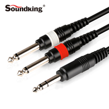 Soundking Professional Audio cable Stereo 6.35mm 1/4″ jack to 2*6.35mm cable male to male for Guitar Mixer Amplifier Bess B28
