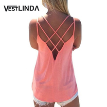 Summer 2017 Sexy Women Tank Top Ladies Camisole Sleeveless Strap Vest Backless Tops Solid Criss Cross Loose Feminino Crop Top(China)